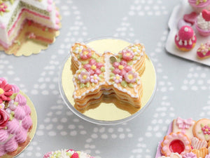 Butterfly-Shaped French Sablé Decorated with Beautiful Pink Flowers and Blossoms - Miniature Food