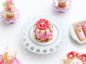 Raspberry Charlotte Dessert Decorated with Pink Silk Ribbon - Miniature Food