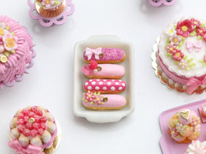 Presentation of Four Beautiful Pink French Eclairs (A) - Miniature Food for Dollhouse 12th scale
