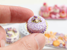 Load image into Gallery viewer, Lilac Arabesque Swirls Cake Decorated with Flowers - Miniature Food in 12th Scale for Dollhouse