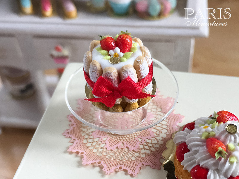 Strawberry Charlotte - French Pastry - Miniature Food in 12th Scale for Dollhouse