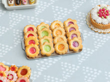Load image into Gallery viewer, Four Flavours of Fruity Jam-Filled Butter Cookies on Metal Baking Tray - Miniature Food