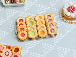 Four Flavours of Fruity Jam-Filled Butter Cookies on Metal Baking Tray - Miniature Food
