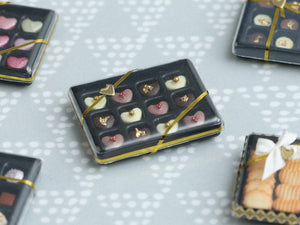 Luxurious Box of Heart-Shaped Chocolates - Miniature Food