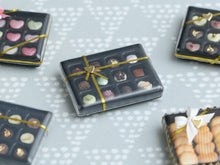 Load image into Gallery viewer, Luxurious Chocolaterie Box of 12 French Chocolates - Miniature Food in 12th Scale for Dollhouse
