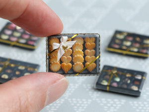 Gift Box of Golden Baked French Butter Cookies - Miniature Food in 12th Scale for Dollhouse