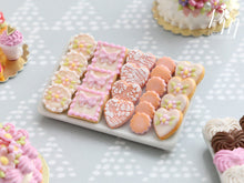 Load image into Gallery viewer, Beautiful Pink Butter Cookies on Porcelain Plate - 12th Scale Miniature Food