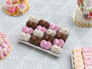 Miniature Meringues in Pink, White and Chocolate on Metal Tray - 12th Scale Miniature Food