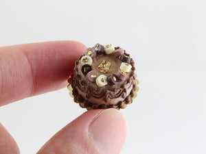 "Dark, Milk and White Chocolate ""Palet Or"" Cake with Real Gold Leaf - Miniature Food"