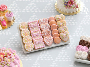 Beautiful Pink Butter Cookies on Porcelain Plate - 12th Scale Miniature Food