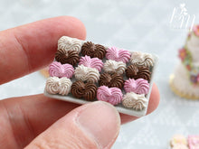 Load image into Gallery viewer, Miniature Meringues in Pink, White and Chocolate on Metal Tray - 12th Scale Miniature Food