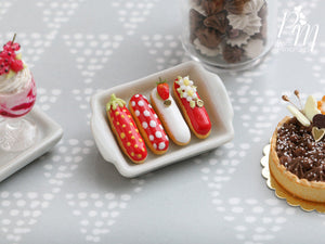 Strawberry French Eclairs - Four Different Designs - Miniature Food