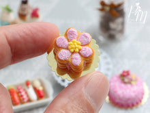 Load image into Gallery viewer, Pink Daisy Millefeuille Sablé Cake - Miniature Food in 12th Scale for Dollhouse