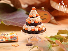 Load image into Gallery viewer, Triple Tiered Chantilly Cream St Honoré Pastry Centerpiece for Fall / Autumn / Halloween - Miniature Food in 12th Scale for Dollhouse