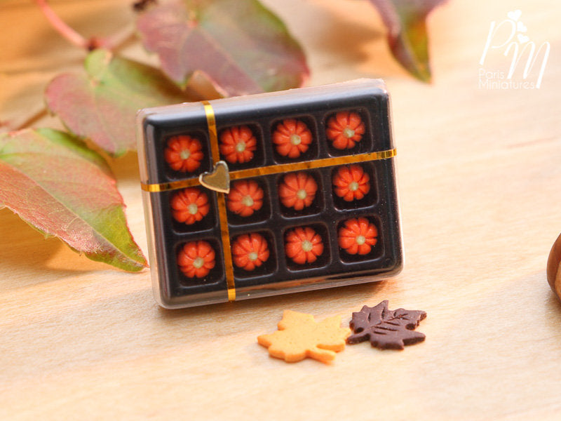Gift Box of Pumpkin Candy for Autumn / Halloween - Miniature Food in 12th Scale for Dollhouse