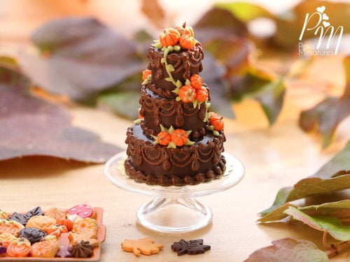 Three Tiered Chocolate Celebration Tower Cake with Pumpkin Decoration for Fall / Halloween - Miniature Food in 12th Scale for Dollhouse