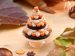 Triple Tiered Chantilly Cream St Honoré Pastry Centerpiece for Fall / Autumn / Halloween - Miniature Food in 12th Scale for Dollhouse