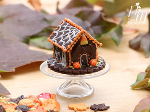 Spooky Chocolate Cookie Haunted House for Fall / Autumn / Halloween - Miniature Food