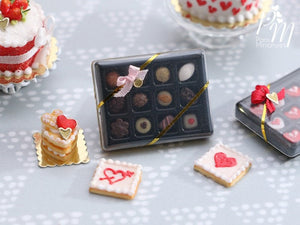 Valentines Box of 12 Beautiful Chocolates (D) - Miniature Food in 12th Scale for Dollhouses