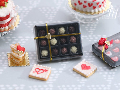 Box of Handmade Miniature Chocolate Rochers in Dark, Milk and White Chocolate