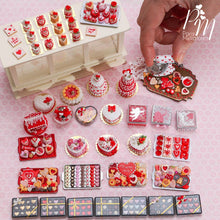 Load image into Gallery viewer, Valentines Box of 12 Beautiful Chocolates (D) - Miniature Food in 12th Scale for Dollhouses