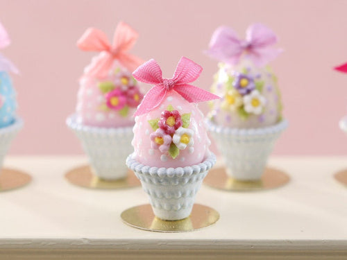 Pastel Candy Easter Egg (A), Decorated with Trio of Blossoms, Silk Bow in Shabby Chic Pot