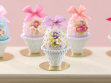 Load image into Gallery viewer, Pretty Pastel Candy Easter Egg (C) Decorated with Trio of Blossoms, Silk Bow, in Shabby Chic Pot