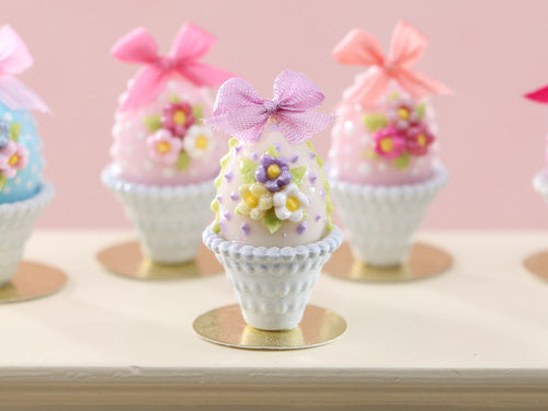 Pretty Pastel Candy Easter Egg (C) Decorated with Trio of Blossoms, Silk Bow, in Shabby Chic Pot