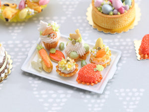 Easter-themed Pastries and Treats on Metal Baking Tray - 12th Scale Miniature Food