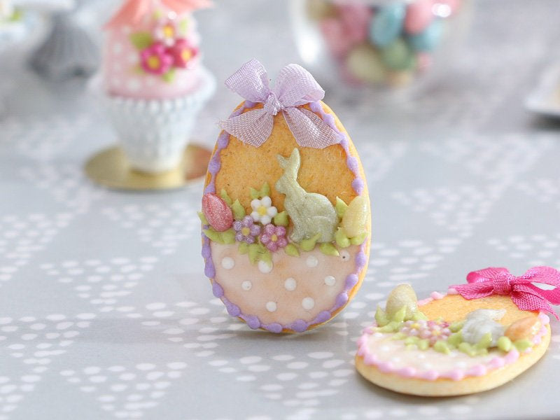 "Easter Shortbread Cookie ""Basket"" Decorated with Rabbit, Blossoms, Egg, Bunny, Mauve Silk Bow"