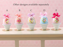 Load image into Gallery viewer, Pastel Candy Easter Egg (B) Pink, Decorated with Trio of Blossoms, Silk Bow in Shabby Chic Pot