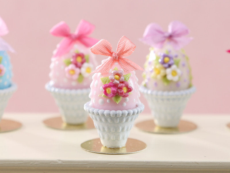 Pastel Candy Easter Egg (B) Pink, Decorated with Trio of Blossoms, Silk Bow in Shabby Chic Pot