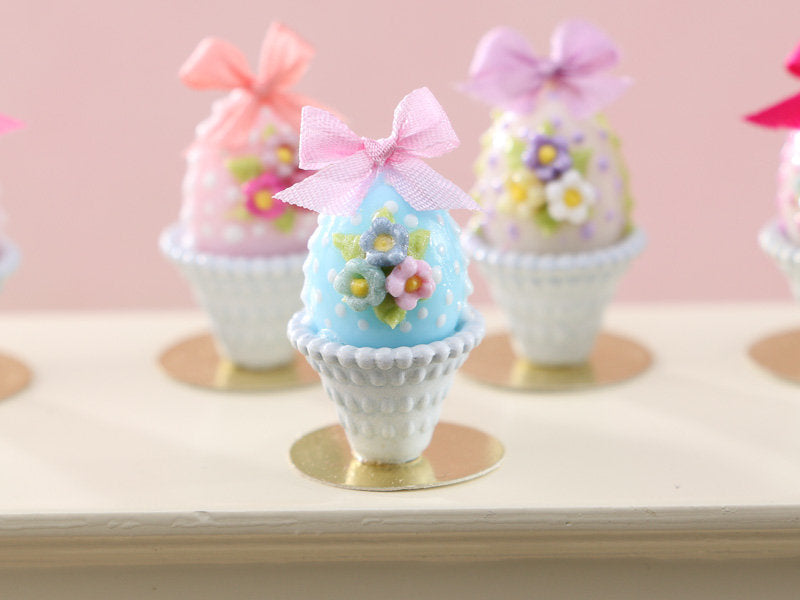 Pretty Pastel Candy Easter Egg (D) Decorated with Trio of Blossoms, Silk Bow, in Shabby Chic Pot