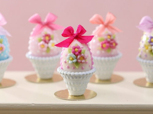 Pastel Candy Easter Egg (E) Dark Pink, Decorated with Trio of Blossoms, Silk Bow in Shabby Chic Pot