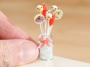 Glass Jar of 3 x 3 Easter lollipops / cake pops - bunnies, chicks and carrots - Miniature Food