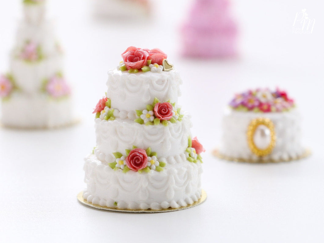 Three Tier Wedding Celebration Tower Cake Decorated with Pink Roses - Miniature Food