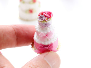 Silk Bows - Three Tier White Wedding Celebration Cake - Miniature Food for Dollhouse 12th scale