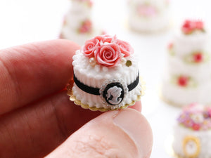 Pink Roses and Cameo Cake - Miniature Food for Dollhouse 12th scale