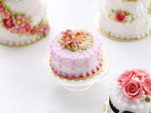 Load image into Gallery viewer, Miniature Cake Decorated with Pink Flowers and Blossoms - Miniature Food in 12th scale