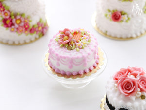 Miniature Cake Decorated with Pink Flowers and Blossoms - Miniature Food in 12th scale