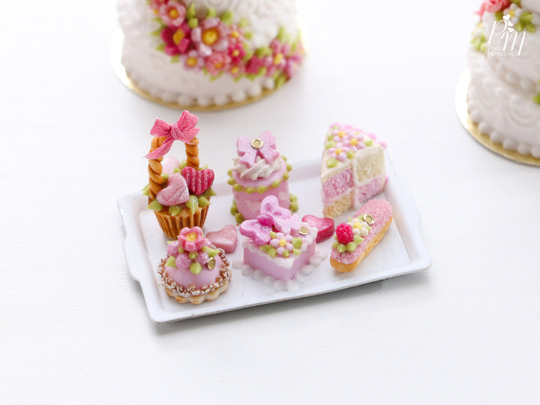 Pretty Pink pastries and Treats (basket cake, éclair, Battenberg etc) on Tray - Miniature food