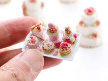 Load image into Gallery viewer, Beautiful presentation of pink pastries and treats (cheesecake slice, St Honoré...) - Miniature Food