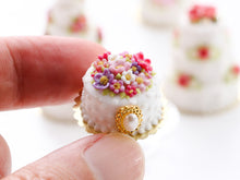 Load image into Gallery viewer, Beautiful Blossoms and Jewel Celebration Cake - Miniature Food for Dollhouse 12th scale