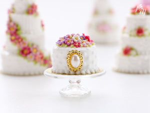 Beautiful Blossoms and Jewel Celebration Cake - Miniature Food for Dollhouse 12th scale