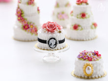 Load image into Gallery viewer, Pink Roses and Cameo Cake - Miniature Food for Dollhouse 12th scale