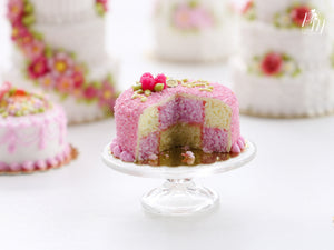 Battenberg Checkered Cake Topped with Raspberries - Miniature Food for Dollhouse 12th scale