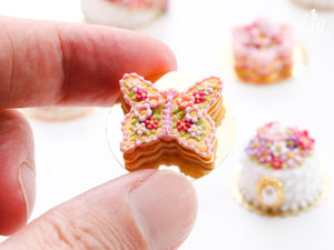 Butterfly-shaped Millefeuille Sablé (French Biscuit) Decorated with Pink Blossoms