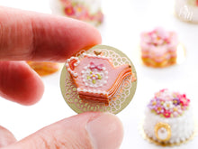 Load image into Gallery viewer, Pink Cookie Teapot-shaped Millefeuille decorated with single pink blossom and bow - Miniature Food