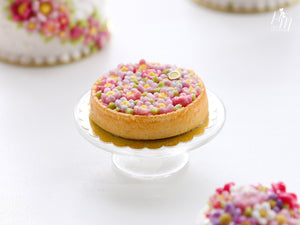 Pink Blossom Tart - Miniature Food for Dollhouse 12th scale