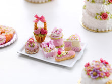 Load image into Gallery viewer, Pretty Pink pastries and Treats (basket cake, éclair, Battenberg etc) on Tray - Miniature food